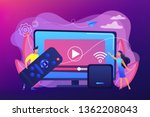 tiny people watch video with... | Shutterstock .eps vector #1362208043