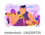 overweight man eating burger ... | Shutterstock .eps vector #1362209720