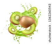 realistic kiwi fruits with... | Shutterstock .eps vector #1362260543