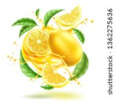 realistic lemon juice explosion ...   Shutterstock .eps vector #1362275636