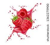 realistic raspberry juice... | Shutterstock .eps vector #1362275900