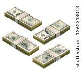 stacks of dummy one hundred us... | Shutterstock .eps vector #1362313013