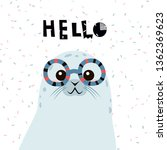 cute cartoon seal with... | Shutterstock .eps vector #1362369623