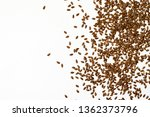 Flax Seeds Isolated On White...