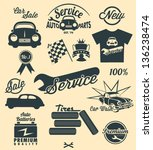 vintage car labels and icons | Shutterstock .eps vector #136238474