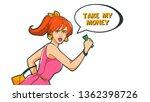 a woman runs holding money in... | Shutterstock .eps vector #1362398726