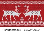 red knitted sweater with deer...   Shutterstock .eps vector #136240010