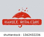 keep dry stamp with umbrella on ... | Shutterstock .eps vector #1362432236