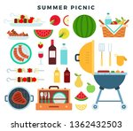 summer picnic party  icons set. ... | Shutterstock .eps vector #1362432503