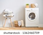 Stock photo interior of a real laundry room with a washing machine at home 1362460709