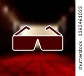 3d glasses mono color icon....