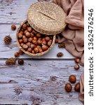 Rustic. Nuts In A Wicker Basket....
