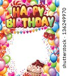 template for happy birthday card | Shutterstock .eps vector #136249970
