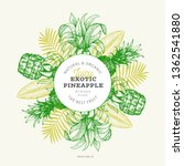 pineapples and tropical leaves...   Shutterstock .eps vector #1362541880
