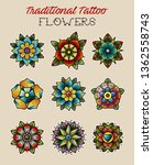 flowers traditional tattoo... | Shutterstock .eps vector #1362558743