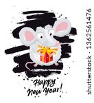 cute little mouse with a red... | Shutterstock .eps vector #1362561476