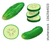 cucumbers in cartoon style set. ... | Shutterstock .eps vector #1362564023