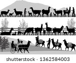 silhouettes of llamas and its... | Shutterstock .eps vector #1362584003