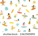 surfing guys and girls on the... | Shutterstock .eps vector #1362585890