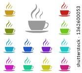 hot tea cup multi color icon....