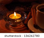 night background with a cup of... | Shutterstock . vector #136262780