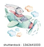Stock photo hand drawing fly cute easter pilot bunny watercolor cartoon bunnies with airplane turquoise 1362641033
