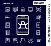 media icon line icons set for...