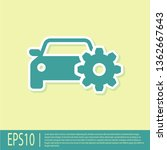 green car service icon isolated ... | Shutterstock .eps vector #1362667643