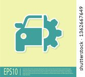 green car service icon isolated ... | Shutterstock .eps vector #1362667649