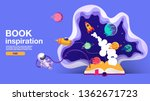 open book  space background ... | Shutterstock .eps vector #1362671723