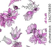 seamless pattern floral... | Shutterstock . vector #1362708830