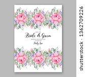 floral rose wedding invitation...   Shutterstock .eps vector #1362709226