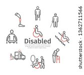 disabled people line icons set. ... | Shutterstock .eps vector #1362711566