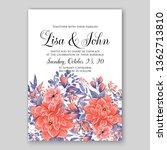 rose wedding invitation floral... | Shutterstock .eps vector #1362713810