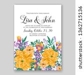 floral wedding invitation with... | Shutterstock .eps vector #1362715136