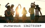 friends having fun and drinking ... | Shutterstock . vector #1362731069