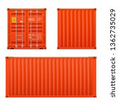 realistic bright red cargo...   Shutterstock .eps vector #1362735029