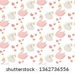 swans cute seamless pattern....   Shutterstock .eps vector #1362736556