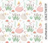 swans cute seamless pattern....   Shutterstock .eps vector #1362736559