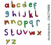 cartoon pencil shaped alphabet | Shutterstock . vector #136274888