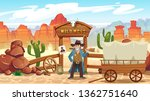 wild west cartoon illustration... | Shutterstock .eps vector #1362751640