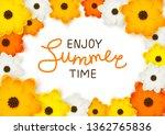 orange and yellow flowers frame ... | Shutterstock .eps vector #1362765836