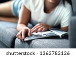 woman lying on couch and... | Shutterstock . vector #1362782126