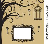 vintage card with cage  keys... | Shutterstock .eps vector #136279634