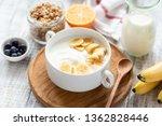 natural yogurt with banana in... | Shutterstock . vector #1362828446
