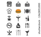 restaurant and cafe icons set... | Shutterstock .eps vector #1362851000