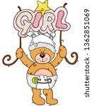 teddy bear welcome baby girl    Shutterstock .eps vector #1362851069