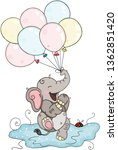 happy baby elephant holding...   Shutterstock .eps vector #1362851420