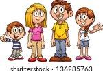 cartoon family. vector clip art ... | Shutterstock .eps vector #136285763