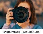 pretty woman photographer in... | Shutterstock . vector #1362864686